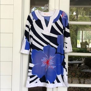 Jude Connally XS B&W and Blue Floral Tunic Dress